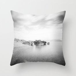 B&W long exposure of a beach in Rabac, Croatia Throw Pillow