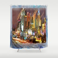 las vegas Shower Curtains featuring Vegas by Robin Curtiss
