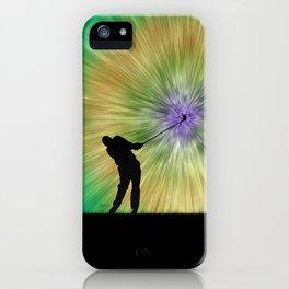 Green Tie Dye Golfer Silhouette iPhone Case