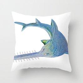 Largetooth Sawfish Draw Lines Body Fish Pristis School Throw Pillow