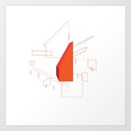 Blueprint #2 (red) Art Print