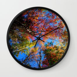 Colorful, Autumn In New Hampshire by OLena Art Wall Clock