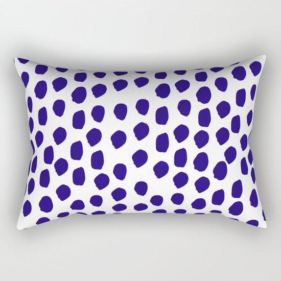 Indigo abstract brushstrokes minimal modern white and blue painterly painting boho chic dorm decor Rectangular Pillow