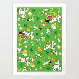 St. Patrick's Day Unicorn Pattern Art Print