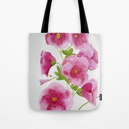 Watercolour Hollyhocks Tote Bag