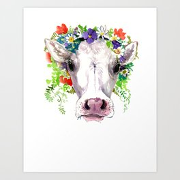 Cow and Flowers, Cow head floral Farm cattle head famr animals Art Print