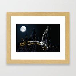 Hedwig's flight at Night Framed Art Print