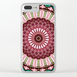 Mandala in red, light and dark green Clear iPhone Case