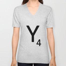 Letter Y - Custom Scrabble Letter Tile Art - Scrabble Y Initial Unisex V-Neck