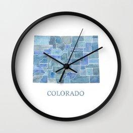 Colorado Counties BluePrint Watercolor Map Wall Clock