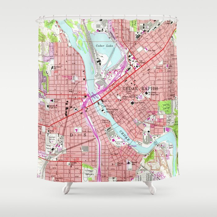 Vintage Map of Cedar Rapids Iowa (1967) Shower Curtain by ... on