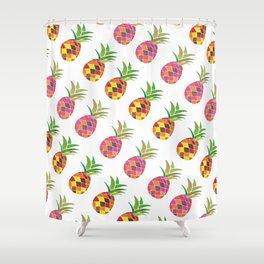 Modern Pineapple Art Print Pattern in watercolour Shower Curtain