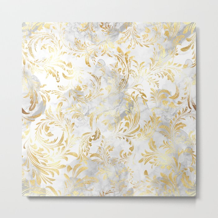 Elegant Gold swirls Metal Print
