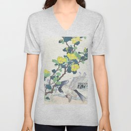 Kono Bairei - Falcon With Its Prey And Hibiscus Flowers - Vintage Japanese Woodblock Print Art  Unisex V-Neck