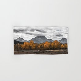 Teton Fall - Autumn Colors and Grand Tetons in Black and White Hand & Bath Towel