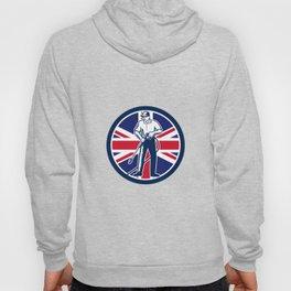 British Pressure Washing Union Jack Flag Circle Retro Hoody