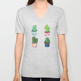 1 Cactus, 2 Cacti, 3 Cacti Four- Watercolor Design Unisex V-Neck
