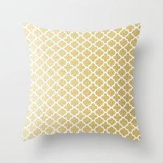 Gold Glitter Quatrefoil Throw Pillow