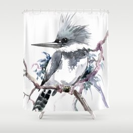 Belted Kingfisher, Gray design, Gray design Shower Curtain