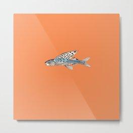 Flying fish on orange Metal Print