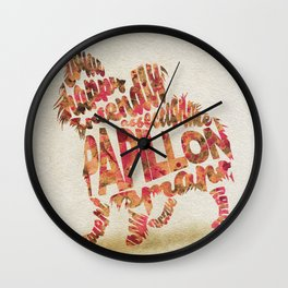 Papillon Dog Typography Art / Watercolor Painting Wall Clock