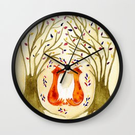 Two Foxes Meet In The Trees Wall Clock