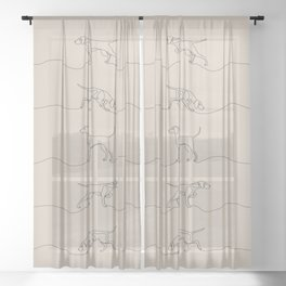 Continuous Line Weimaraners (Light Taupe Background) Sheer Curtain