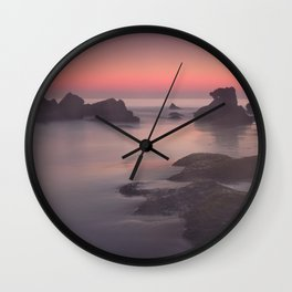 Foggy sunset. Roche Reefs. Sancti Petri. Spain Wall Clock