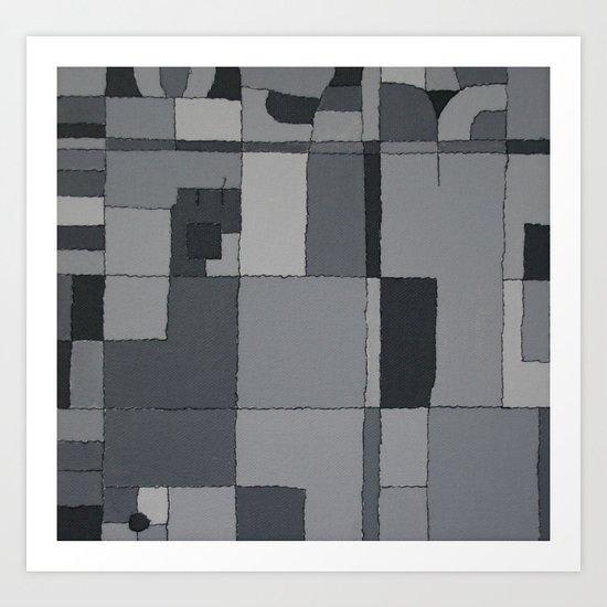 Grey Map  Art Print