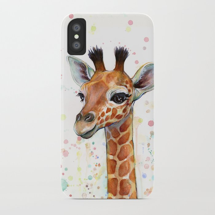 giraffe baby watercolor iphone case