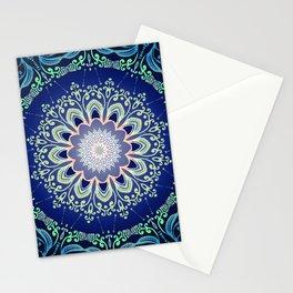 blue flowers mandala Stationery Cards