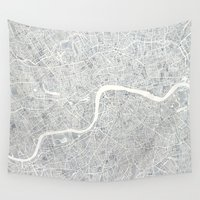 london map Wall Tapestries featuring City Map London watercolor map  by Anne E. McGraw