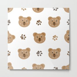 Brown doodle paw print and teddy bear Metal Print
