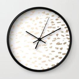 Gold Modern Polka Dots on White Wall Clock
