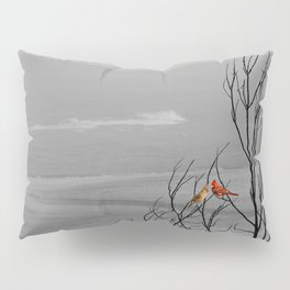 Red Cardinal Birds Black and White Beach Coastal A195 Pillow Sham