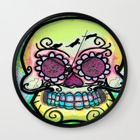 calavera Wall Clocks featuring calavera cats by grapeloverarts