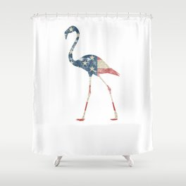 Flamingo Fourth of July Shirt Patriotic Vintage Flag Tee Shower Curtain