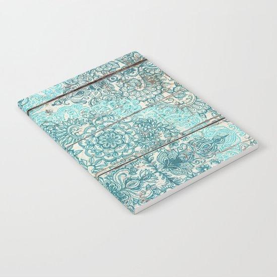 Teal & Aqua Botanical Doodle on Weathered Wood Notebook