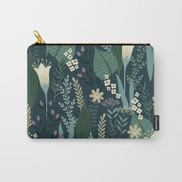 Wonderful Mid-Century Style Evening Lily And Wildflower Pattern Carry-All Pouch