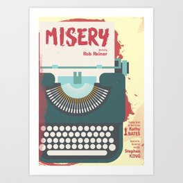 Misery, Horror, Movie Illustration, Stephen King, Kathy Bates, Rob Reiner, Classic book, cover Art Print