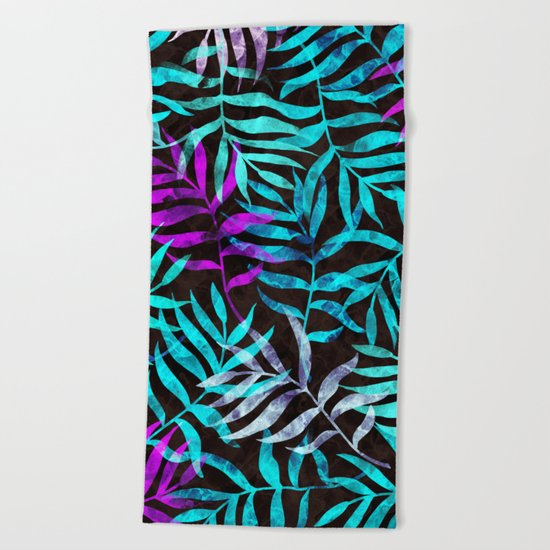 Watercolor Tropical Palm Leaves III Beach Towel