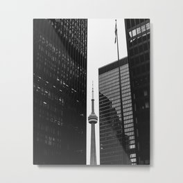 CN Tower Between Buildings Metal Print