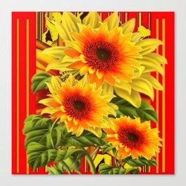 GOLDEN YELLOW KANSAS SUNFLOWERS RED ART Canvas Print