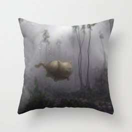 Aqua Kitty Throw Pillow