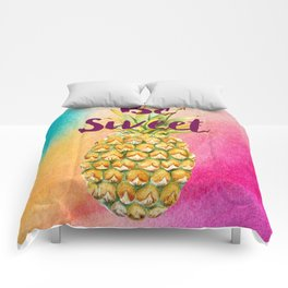Watercolor Pineapple - Be Sweet Pink Gold Pineapple Comforters