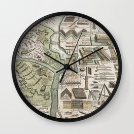 Vintage Military Defense Fortifications Diagram (1716) Wall Clock