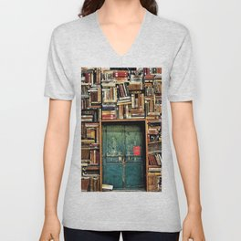 Library with books door entrance Unisex V-Neck