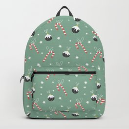 Christmas Candy Cane And Ornament Decor Backpack