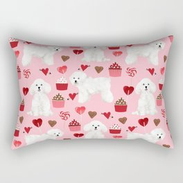 Bichon Frise valentines day dog gifts pet art portraits of your furry friend dog breeds Rectangular Pillow