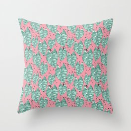 Watercolor tropical leaves pattern Throw Pillow